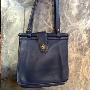 Coach navy blue leather suede gold purse handbag